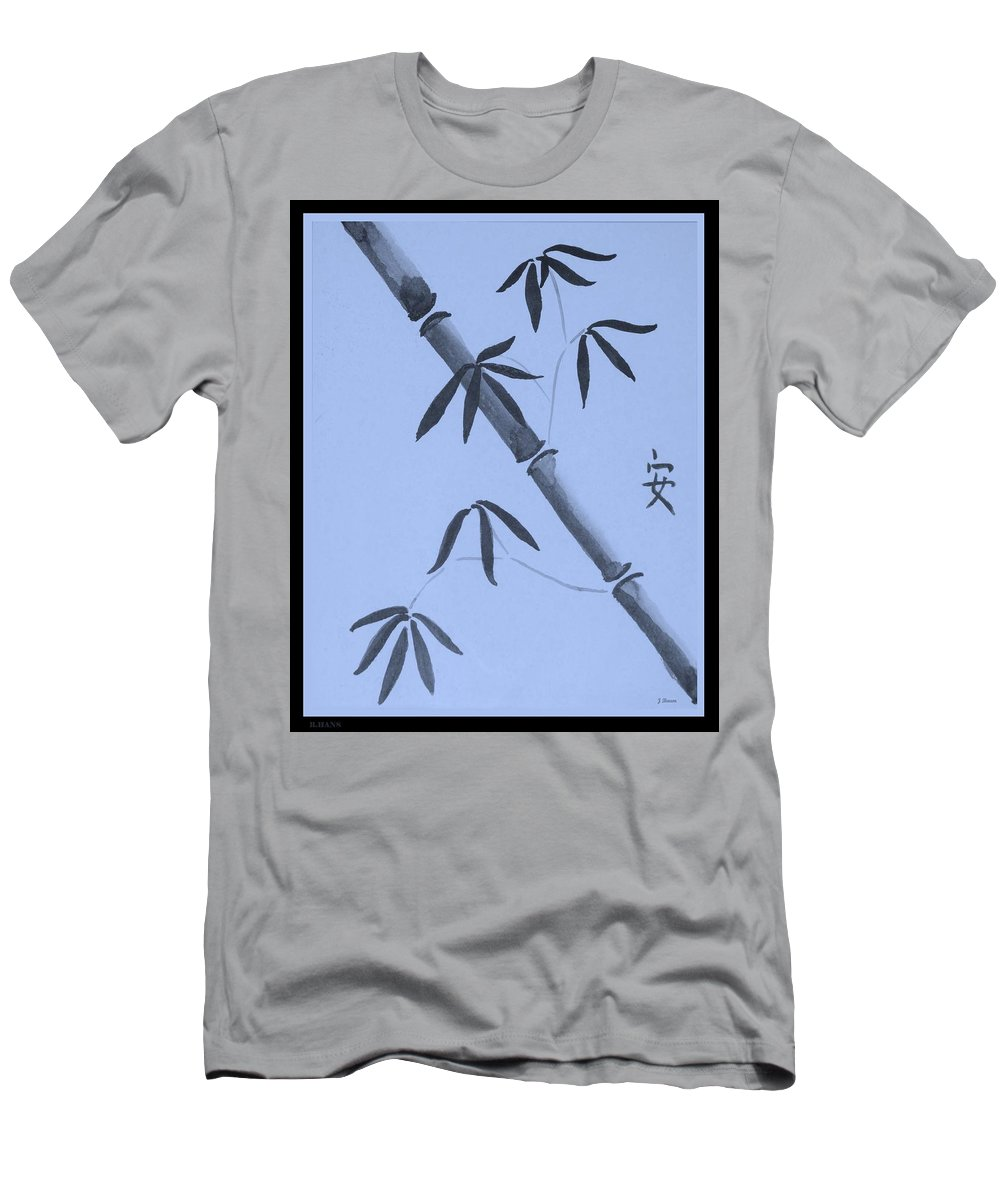 Bamboo Art Men's T-Shirt (Athletic Fit) featuring the photograph Bamboo Art In Cyan by Rob Hans