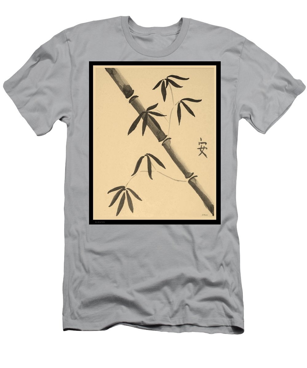 Bamboo Art Men's T-Shirt (Athletic Fit) featuring the photograph Bamboo Art In Sepia by Rob Hans