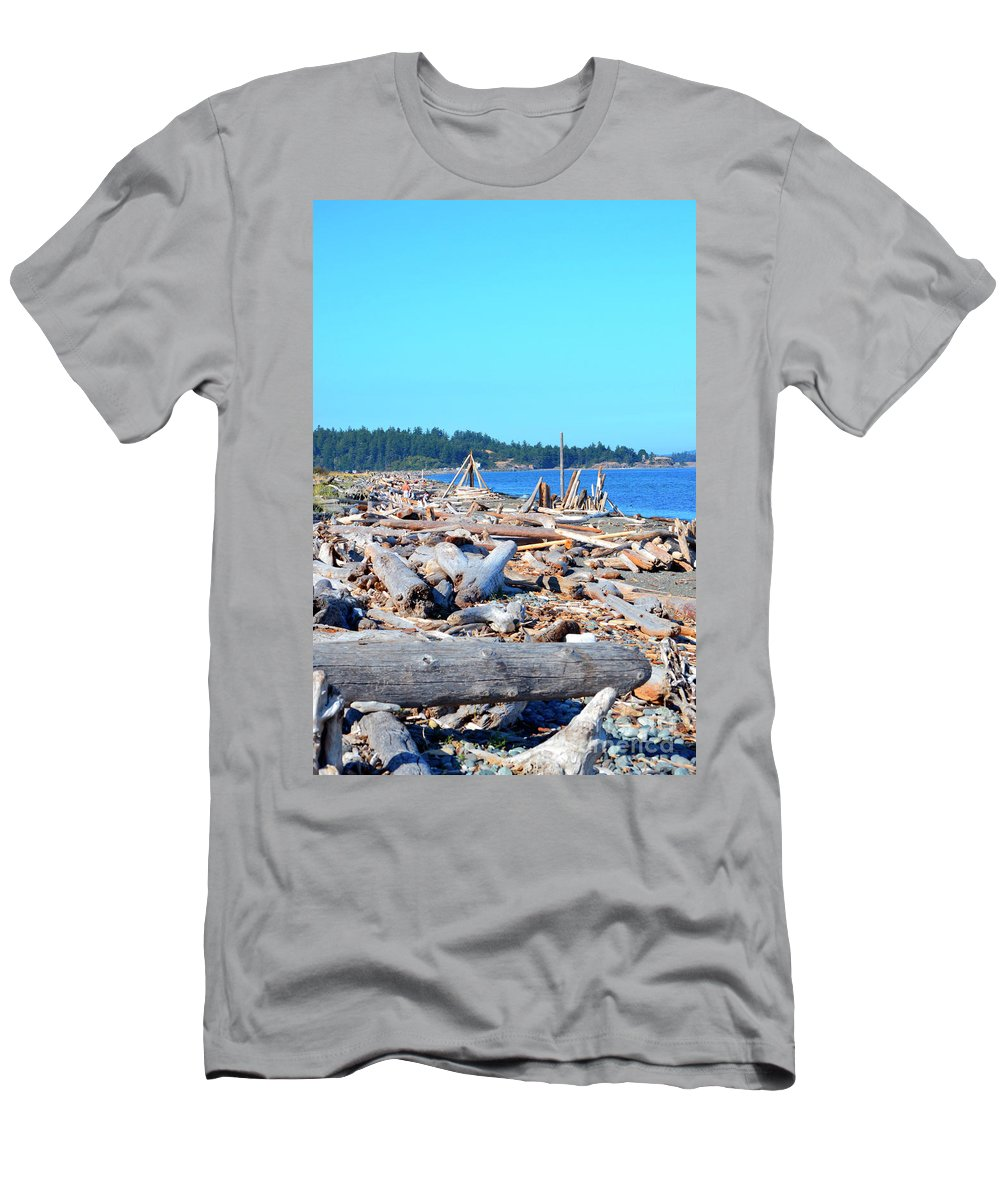 British Columbia Men's T-Shirt (Athletic Fit) featuring the photograph Beach Of Logs by Traci Cottingham