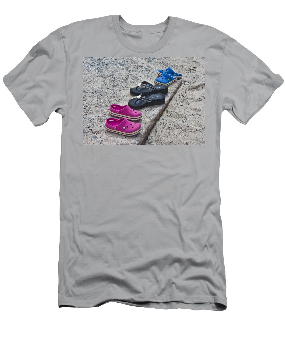 Topsail Men's T-Shirt (Athletic Fit) featuring the photograph Beach Shoes by Betsy Knapp