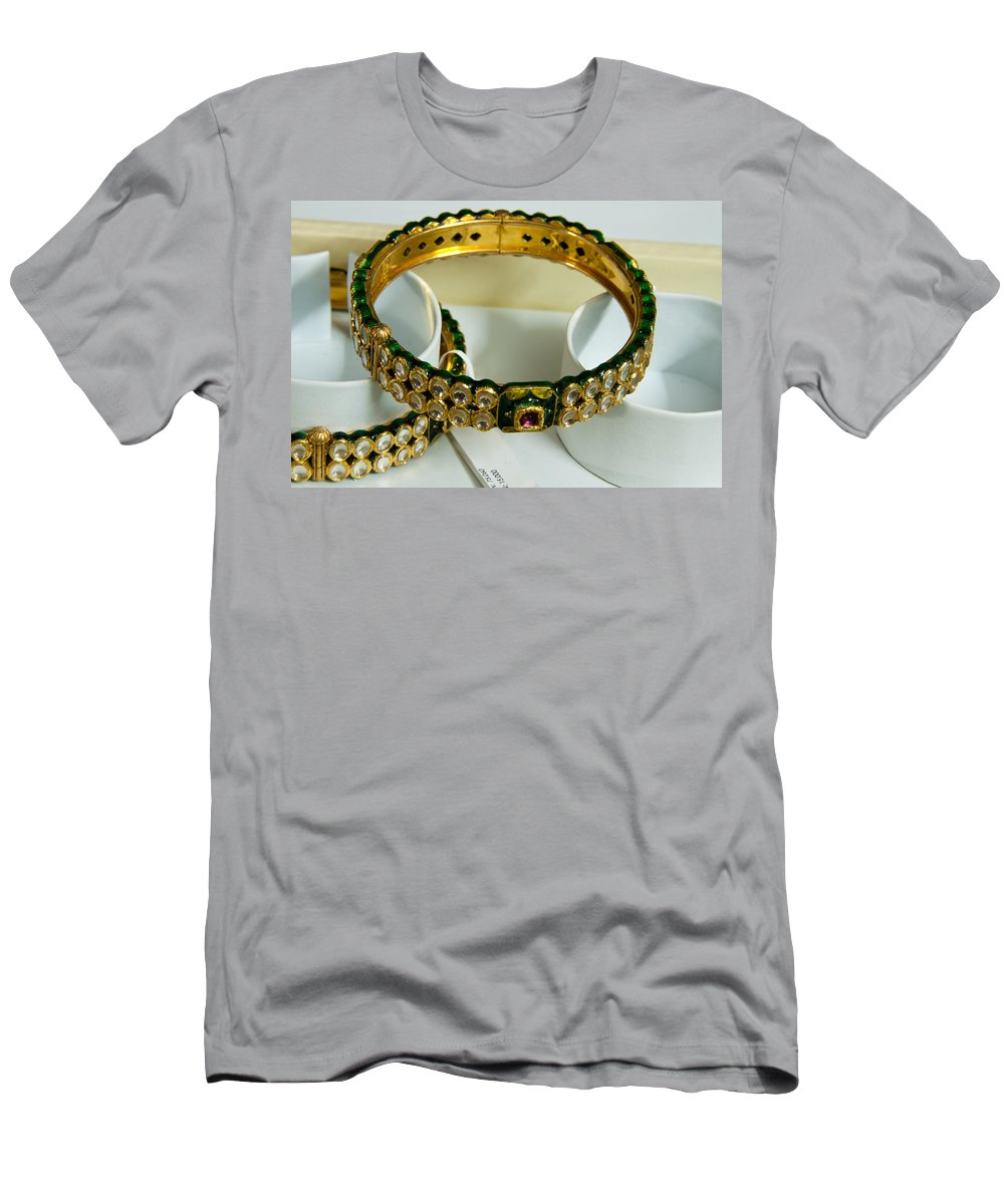 Bangle Men's T-Shirt (Athletic Fit) featuring the photograph Beautiful Green And Purple Covered Gold Bangles With Semi-precious Stones Inlaid by Ashish Agarwal