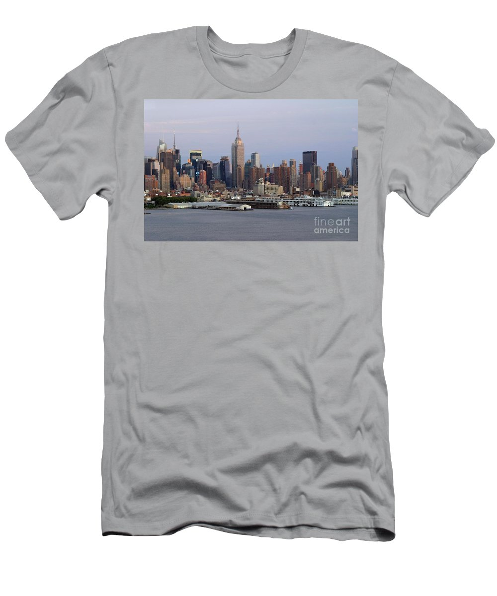 New York City Men's T-Shirt (Athletic Fit) featuring the photograph Beautiful Light On New York City by Living Color Photography Lorraine Lynch