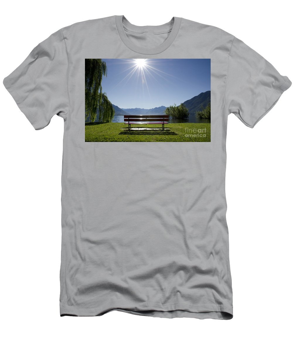 Bench Men's T-Shirt (Athletic Fit) featuring the photograph Bench On The Lakefront by Mats Silvan