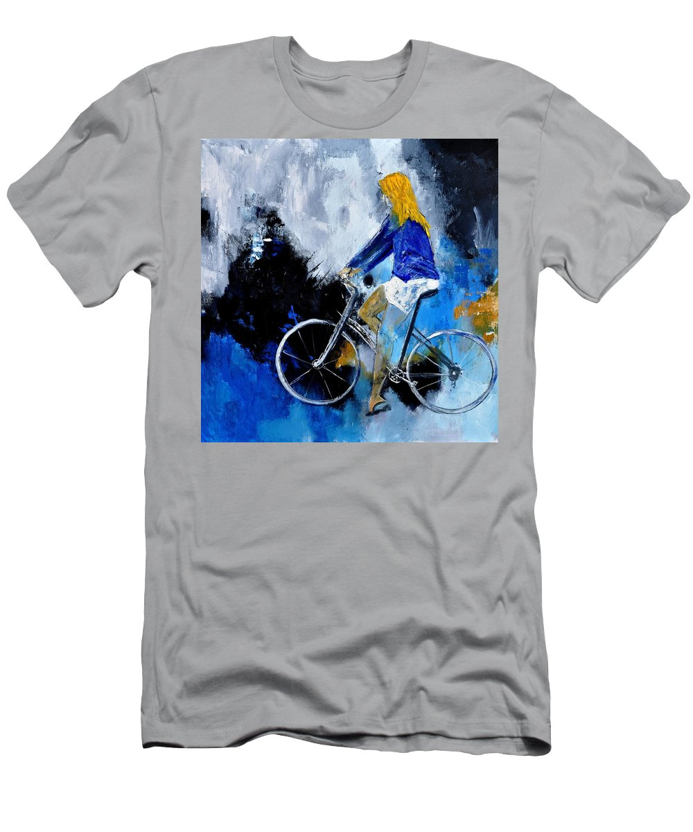 Girl Men's T-Shirt (Athletic Fit) featuring the painting Bicycle 77 by Pol Ledent