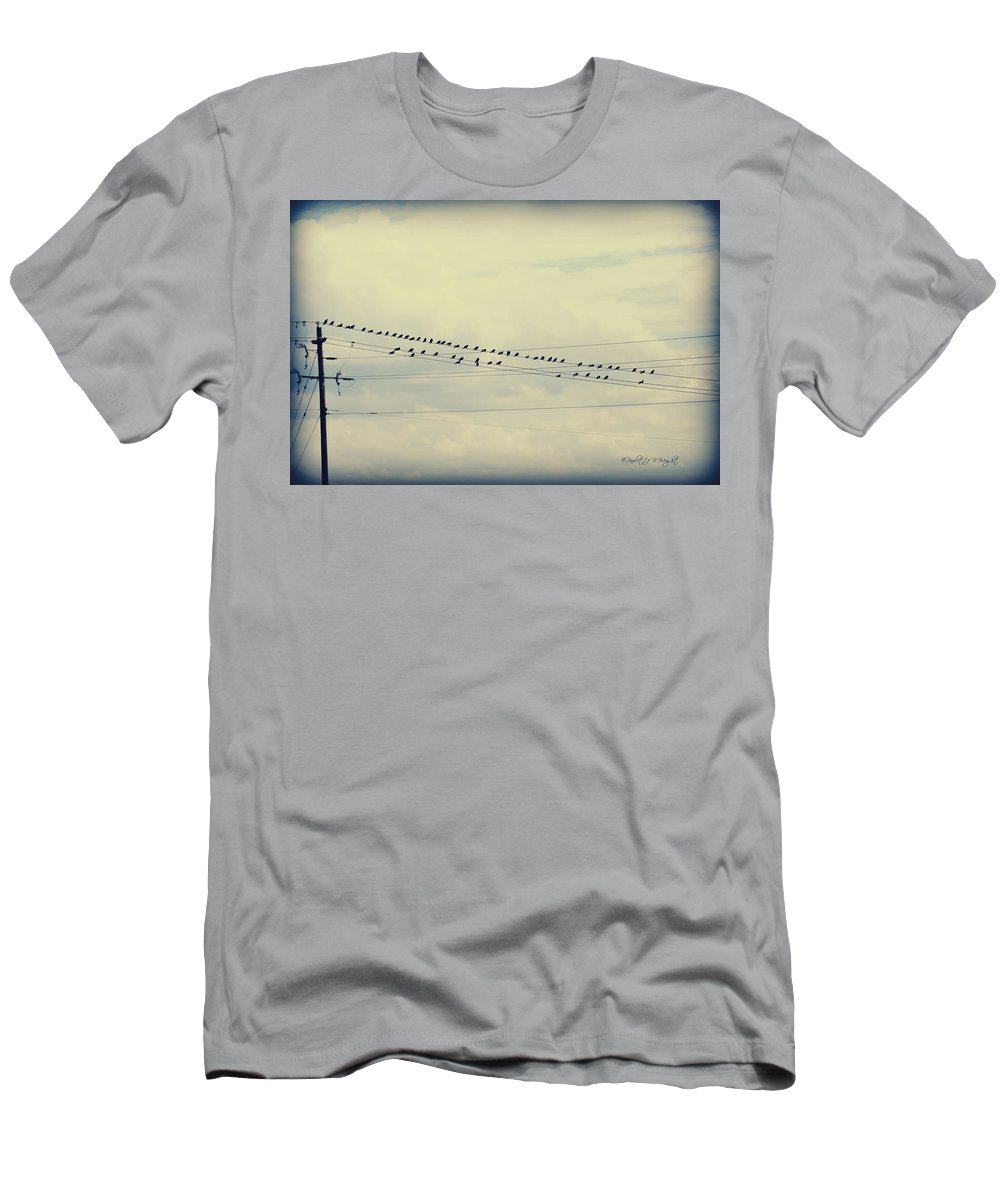 Nature Men's T-Shirt (Athletic Fit) featuring the photograph Birds On A Wire Polaroid by Paulette B Wright