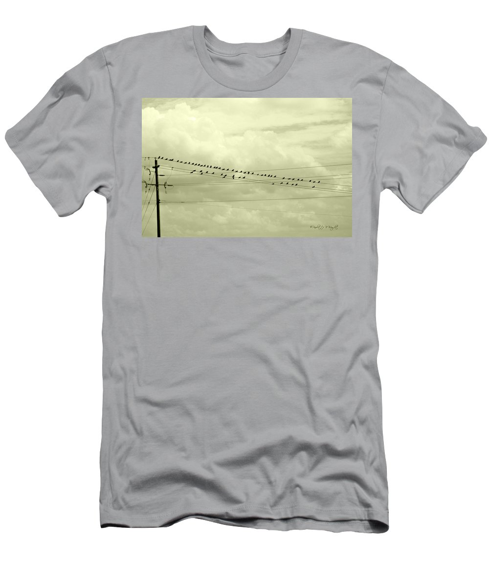 Art Men's T-Shirt (Athletic Fit) featuring the photograph Birds On A Wire Tinted by Paulette B Wright
