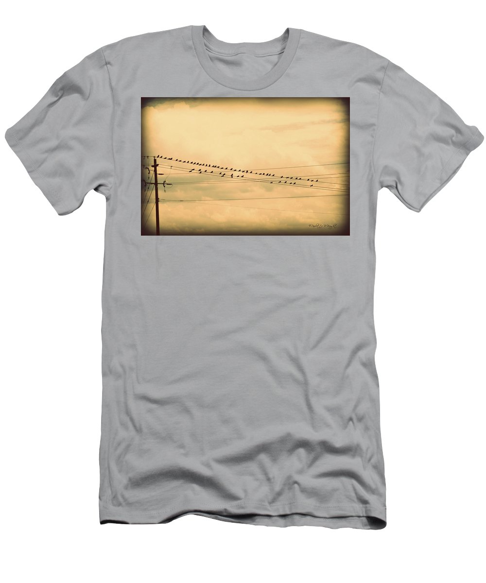 Art Men's T-Shirt (Athletic Fit) featuring the photograph Birds On Wires Back In Time by Paulette B Wright