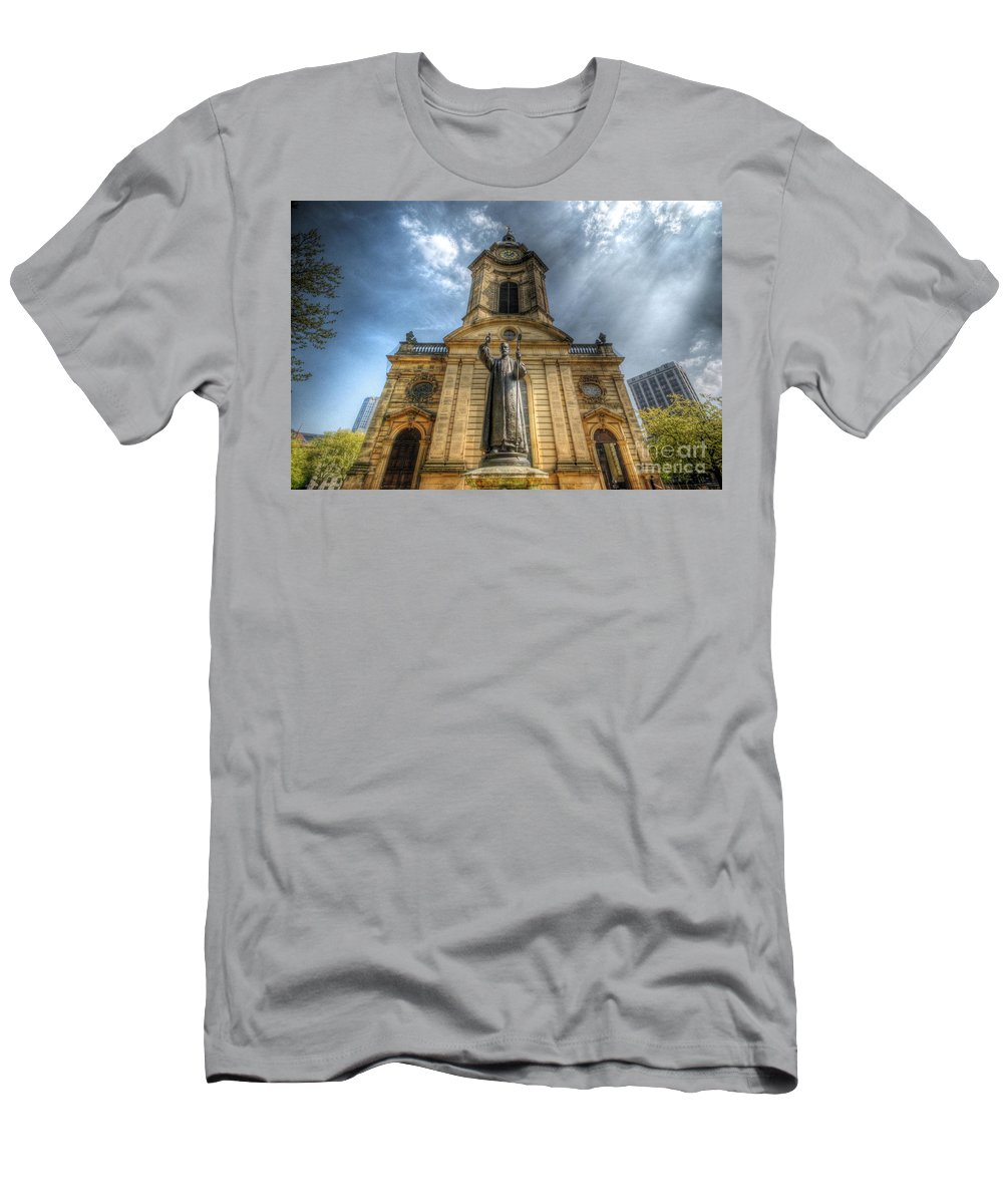 Church Men's T-Shirt (Athletic Fit) featuring the photograph Birmingham Cathedral 1.0 by Yhun Suarez