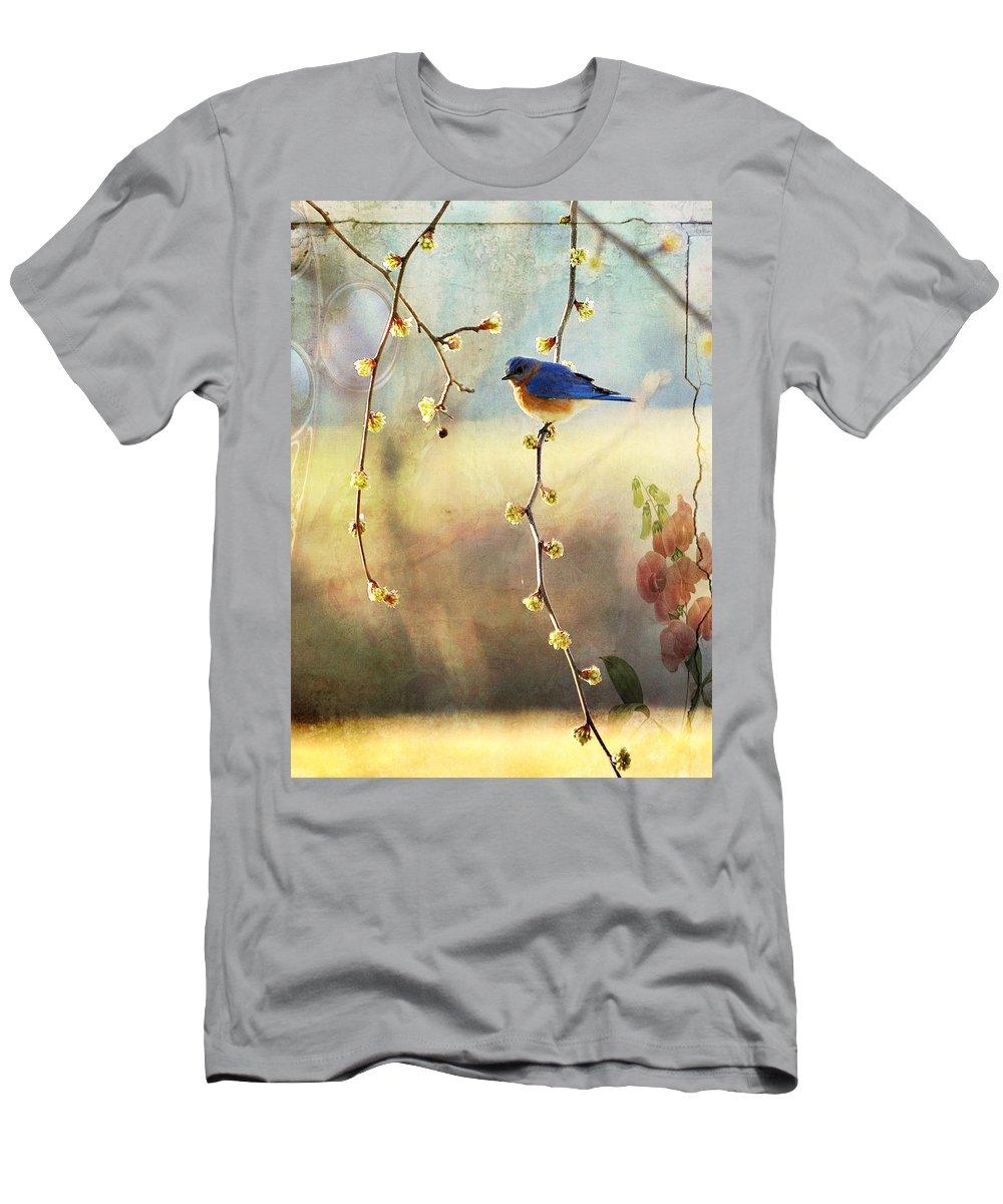 Blue Bird Men's T-Shirt (Athletic Fit) featuring the photograph Blue Bird by Todd Hostetter