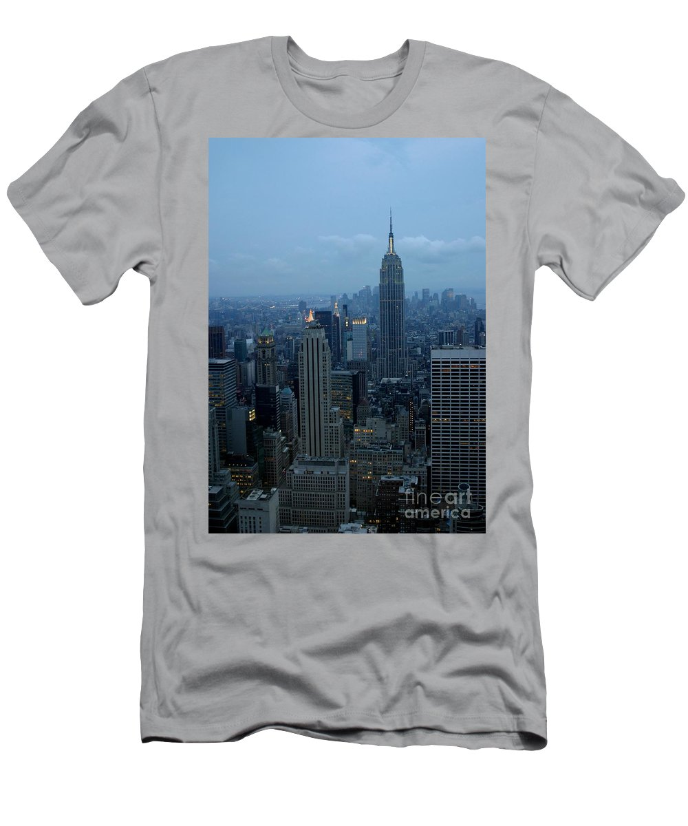 New York City Men's T-Shirt (Athletic Fit) featuring the photograph Blue Hour by Living Color Photography Lorraine Lynch