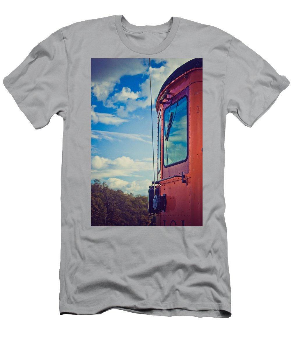 Train Men's T-Shirt (Athletic Fit) featuring the photograph Blue Skies Ahead by Sara Frank