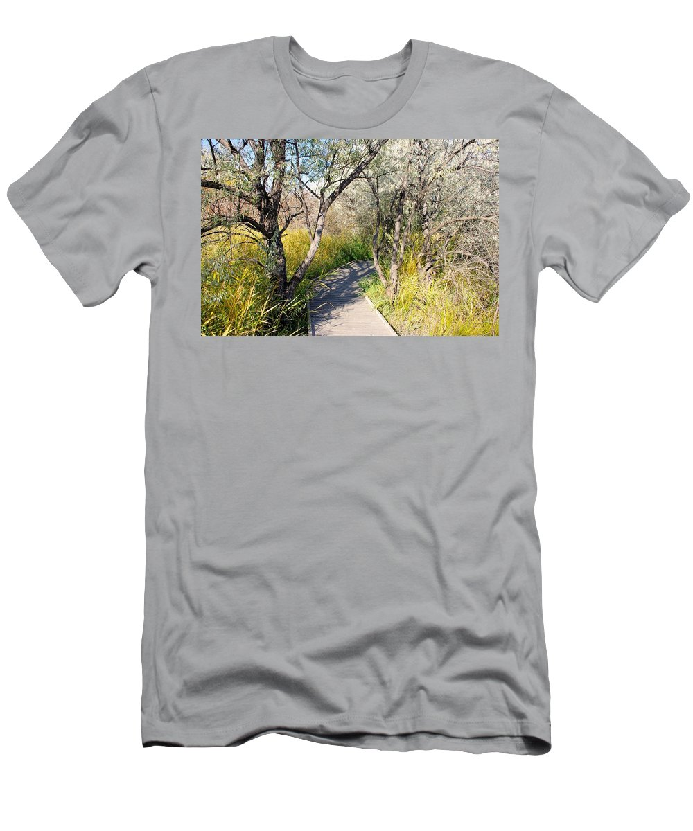 Osoyoos Men's T-Shirt (Athletic Fit) featuring the photograph Boardwalk To The Birds by John Greaves