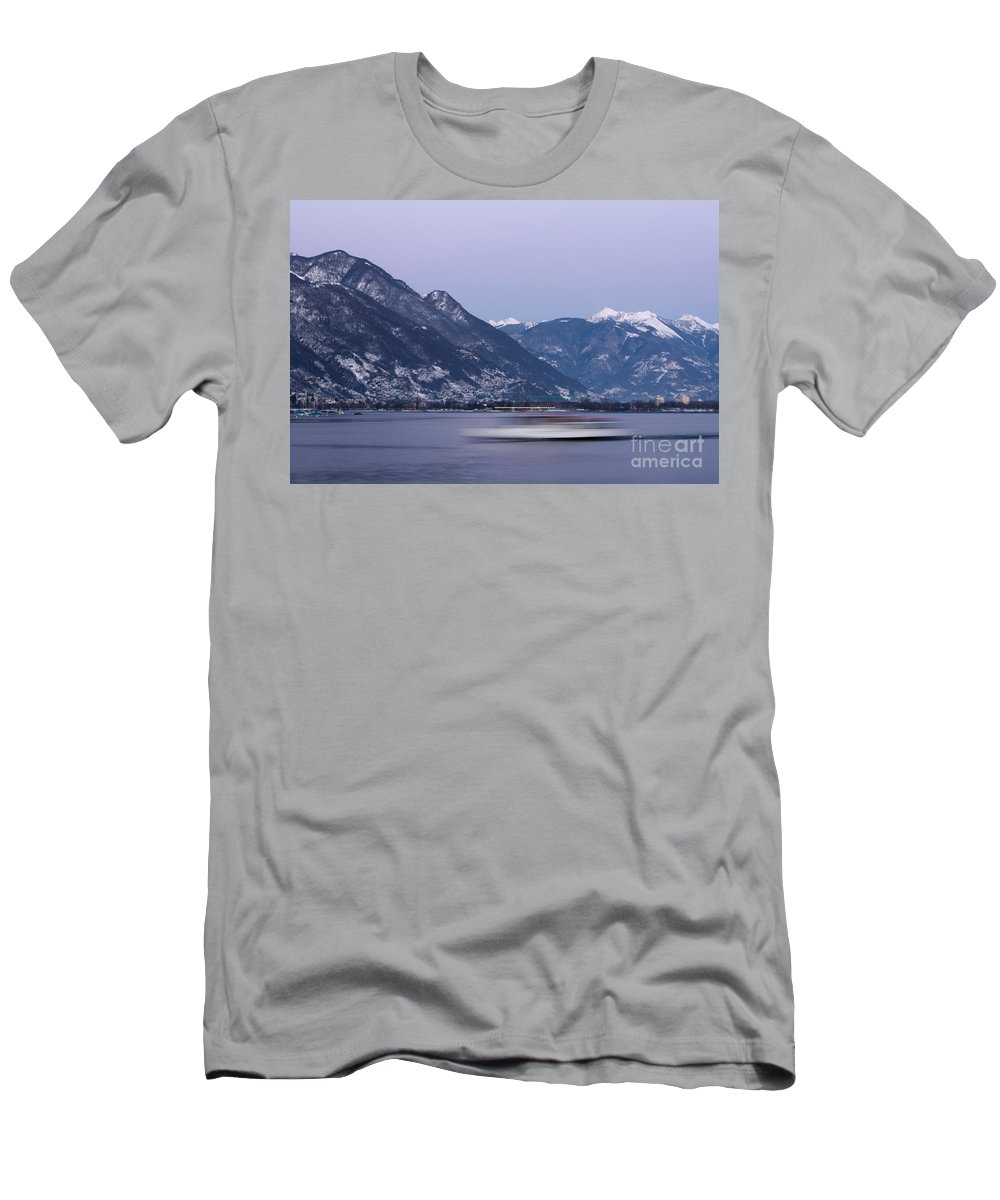 Boat Men's T-Shirt (Athletic Fit) featuring the photograph Boat And Alps by Mats Silvan