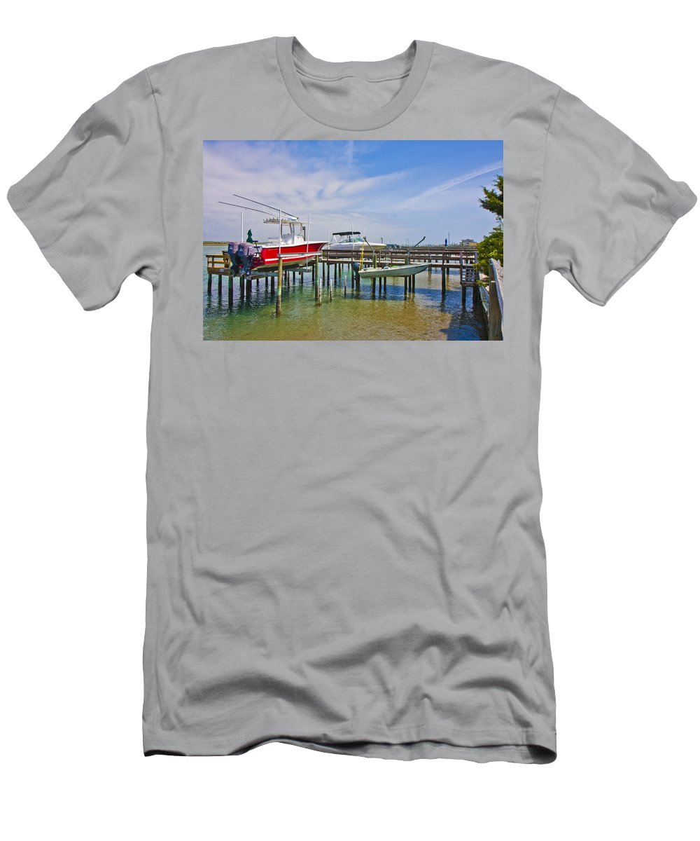 Topsail Men's T-Shirt (Athletic Fit) featuring the photograph Boat Caddy by Betsy Knapp