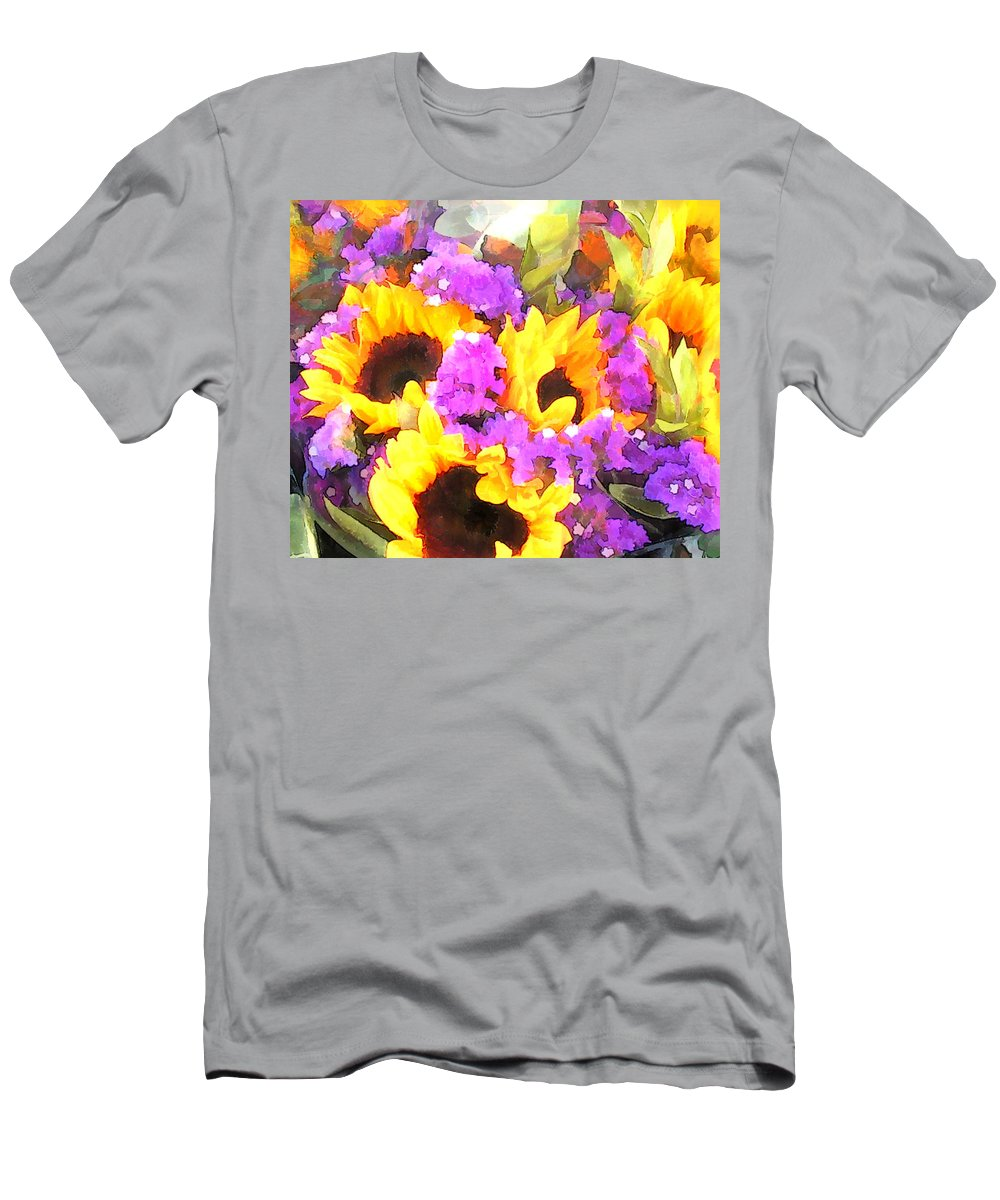 Flower Flowers Sunflower Statice Garden Flora Sunflowers Floral Nature Natural Bloom Blooms Blossoms Blossom Bouquet Arrangement Colorful Plant Plants Botanical Botanic Blooming Gardens Gardening Tropical Annual Annuals Perennial Perennials Bulb Bulbs Men's T-Shirt (Athletic Fit) featuring the painting Bouquet Of Sunflowers And Purple Statice by Elaine Plesser