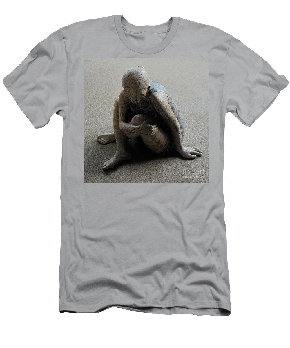 Sculpture Men's T-Shirt (Athletic Fit) featuring the sculpture Breakfast On The Grass by Raimonda Jatkeviciute-Kasparaviciene