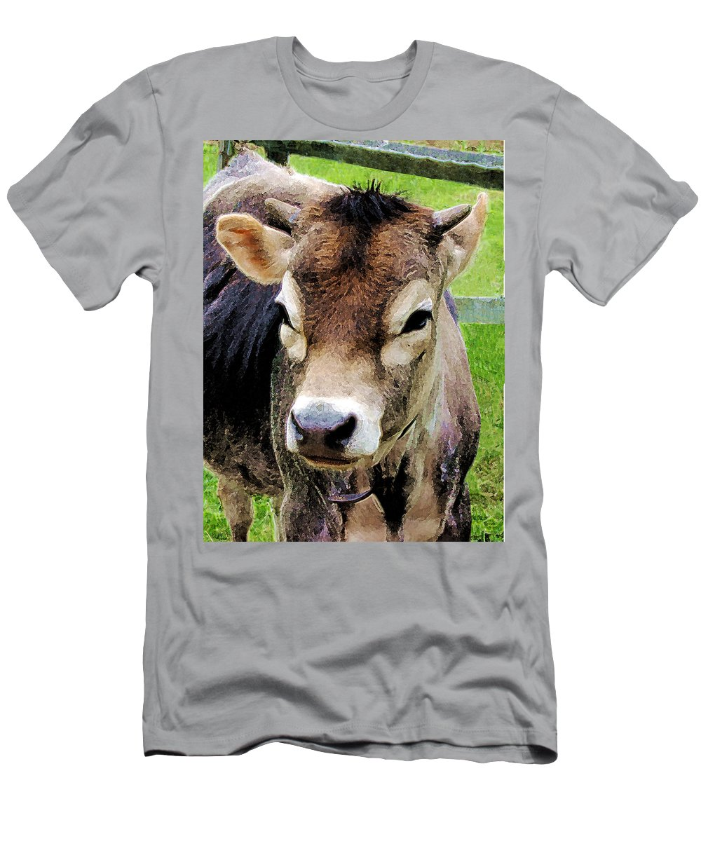 Rural Men's T-Shirt (Athletic Fit) featuring the photograph Calf Closeup by Susan Savad