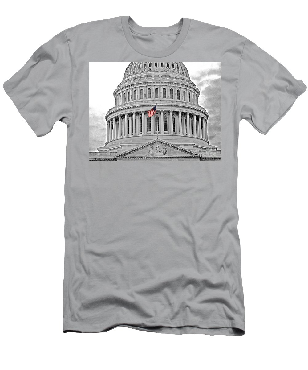 Washington Dc Men's T-Shirt (Athletic Fit) featuring the photograph Capitol With Flag by Jack Schultz