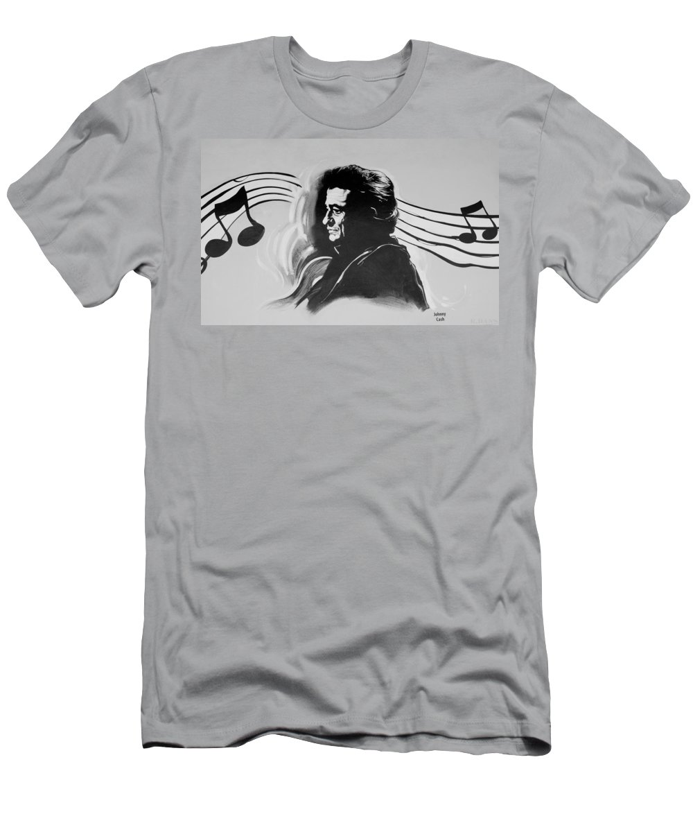 Johnny Cash Men's T-Shirt (Athletic Fit) featuring the photograph Cash In Black And White by Rob Hans