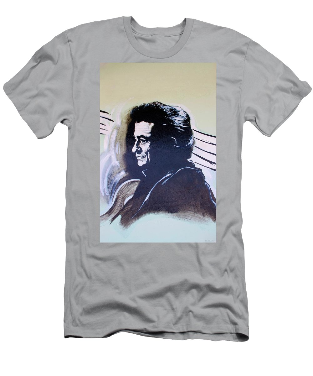 Johnny Cash Men's T-Shirt (Athletic Fit) featuring the photograph Cash by Rob Hans