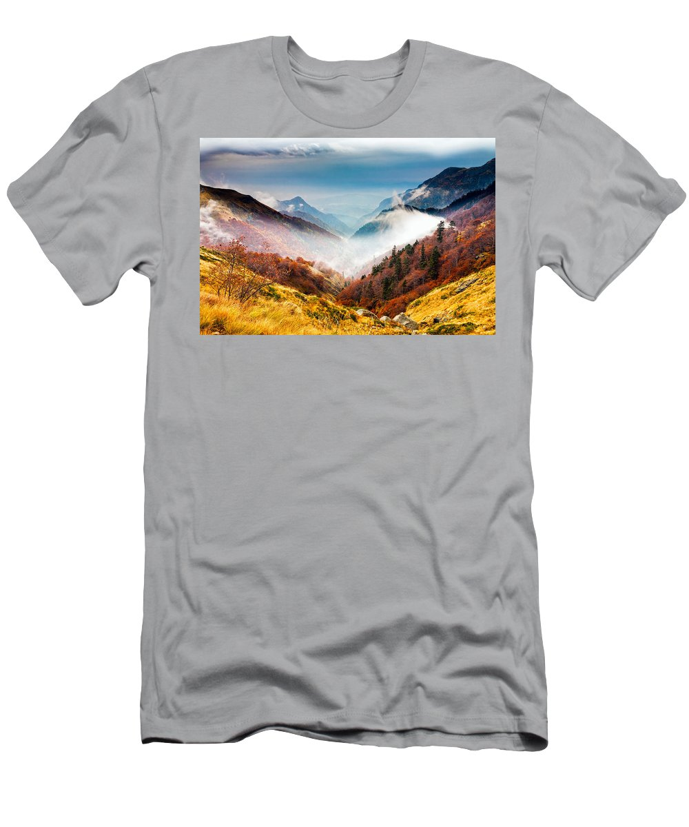 Balkan Mountains Men's T-Shirt (Athletic Fit) featuring the photograph Central Balkan National Park by Evgeni Dinev