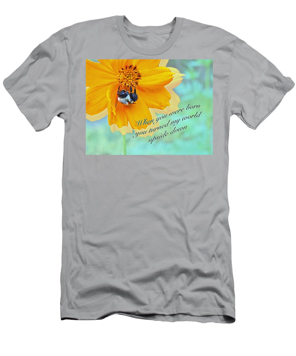 Birthday Men's T-Shirt (Athletic Fit) featuring the photograph Child Birthday Greeting From Parent Parents - Cosmos And Bumblebee by Mother Nature
