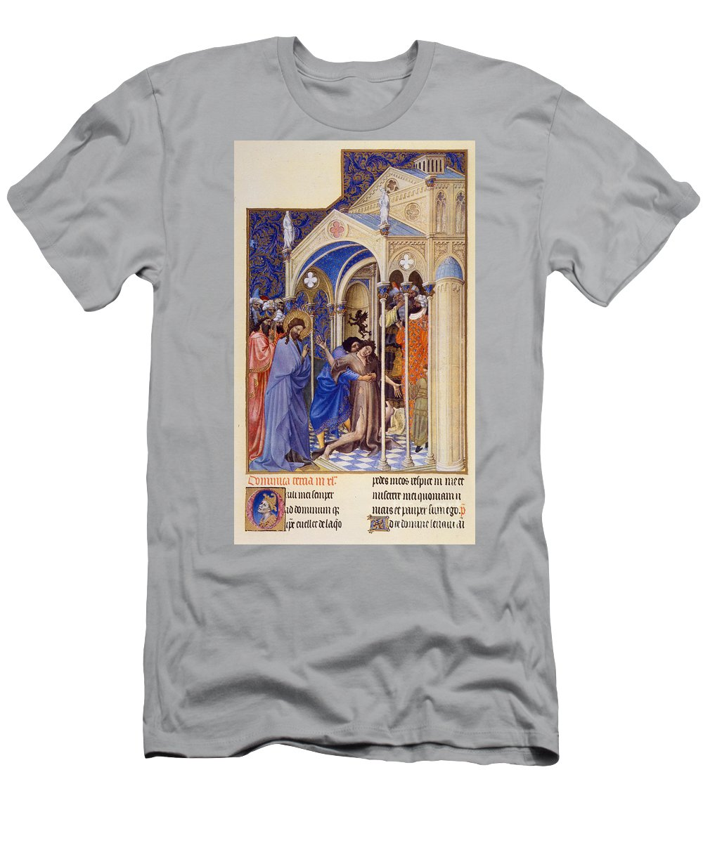 Berry Men's T-Shirt (Athletic Fit) featuring the photograph Christ Exorcising A Demon From A Possessed Youth: Illumination From The 15th Century Ms. Of The Tres Riches Heures Of Jean, Duke Of Berry by Granger