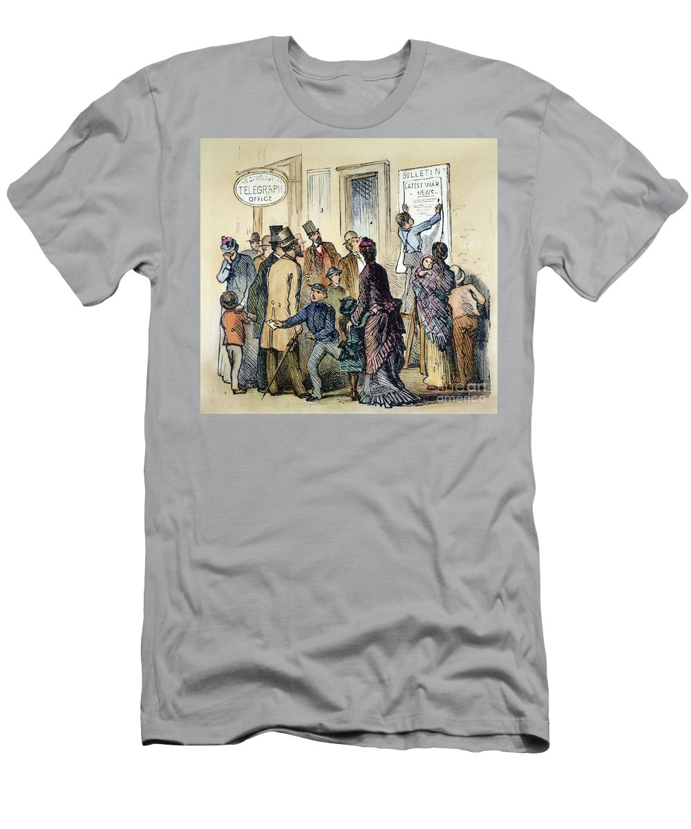 1861 Men's T-Shirt (Athletic Fit) featuring the photograph Civil War Telegraph Office by Granger