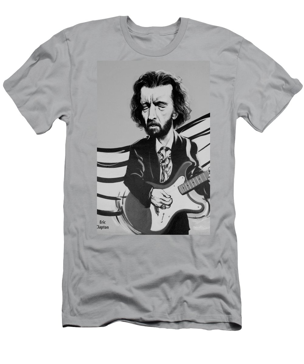 Eric Clapton Men's T-Shirt (Athletic Fit) featuring the photograph Clapton In Black And White by Rob Hans