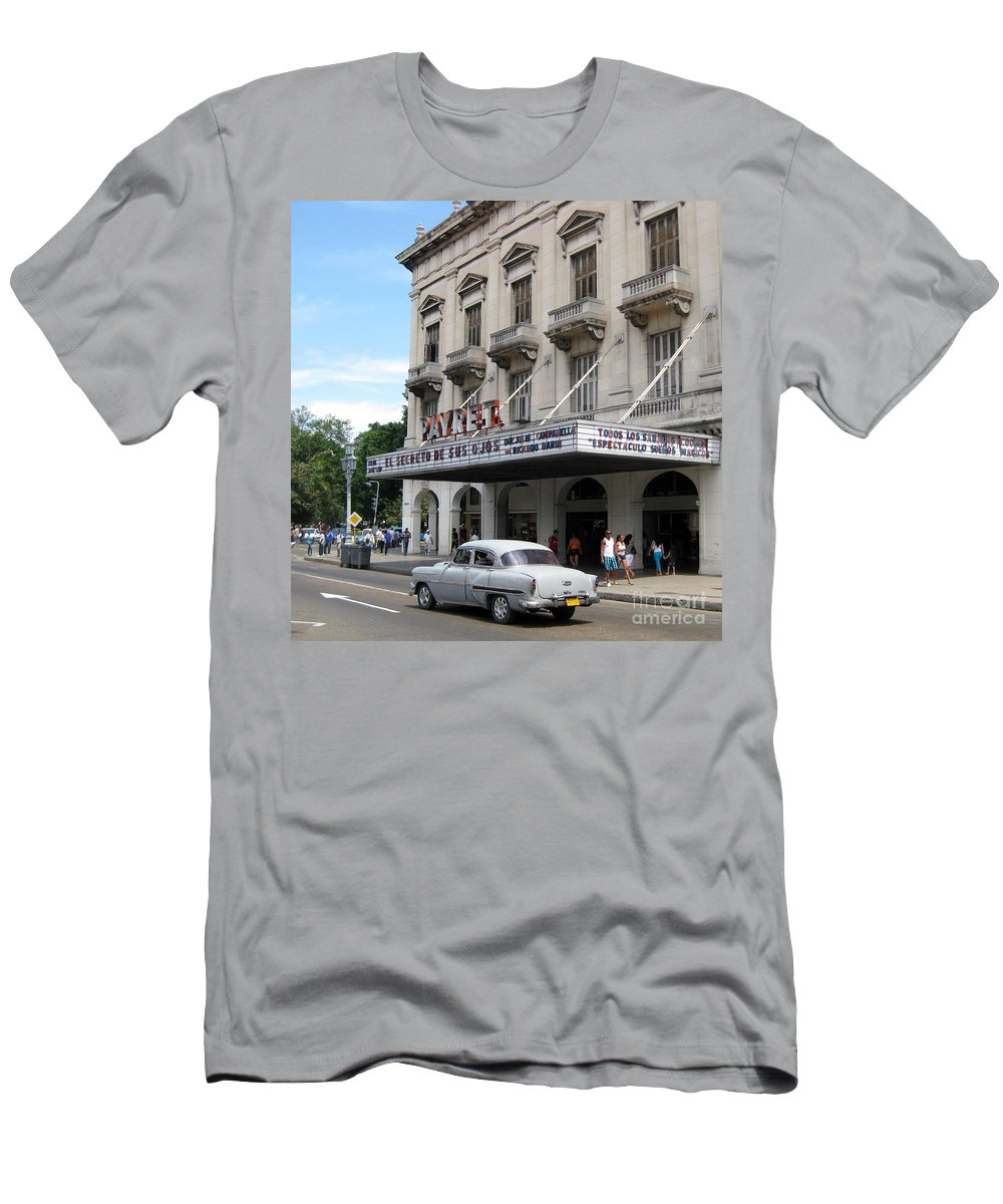 Cars Men's T-Shirt (Athletic Fit) featuring the photograph Classic Auto And Old Movie Theatre by John Malone