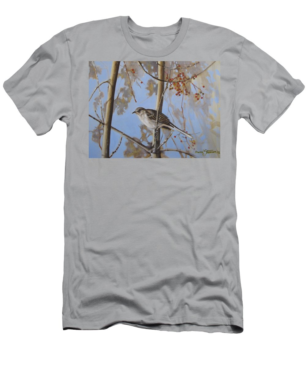 Bird;nature;outdoor;landscape;trees;sky; T-Shirt featuring the painting Cold Day by Howard Stroman