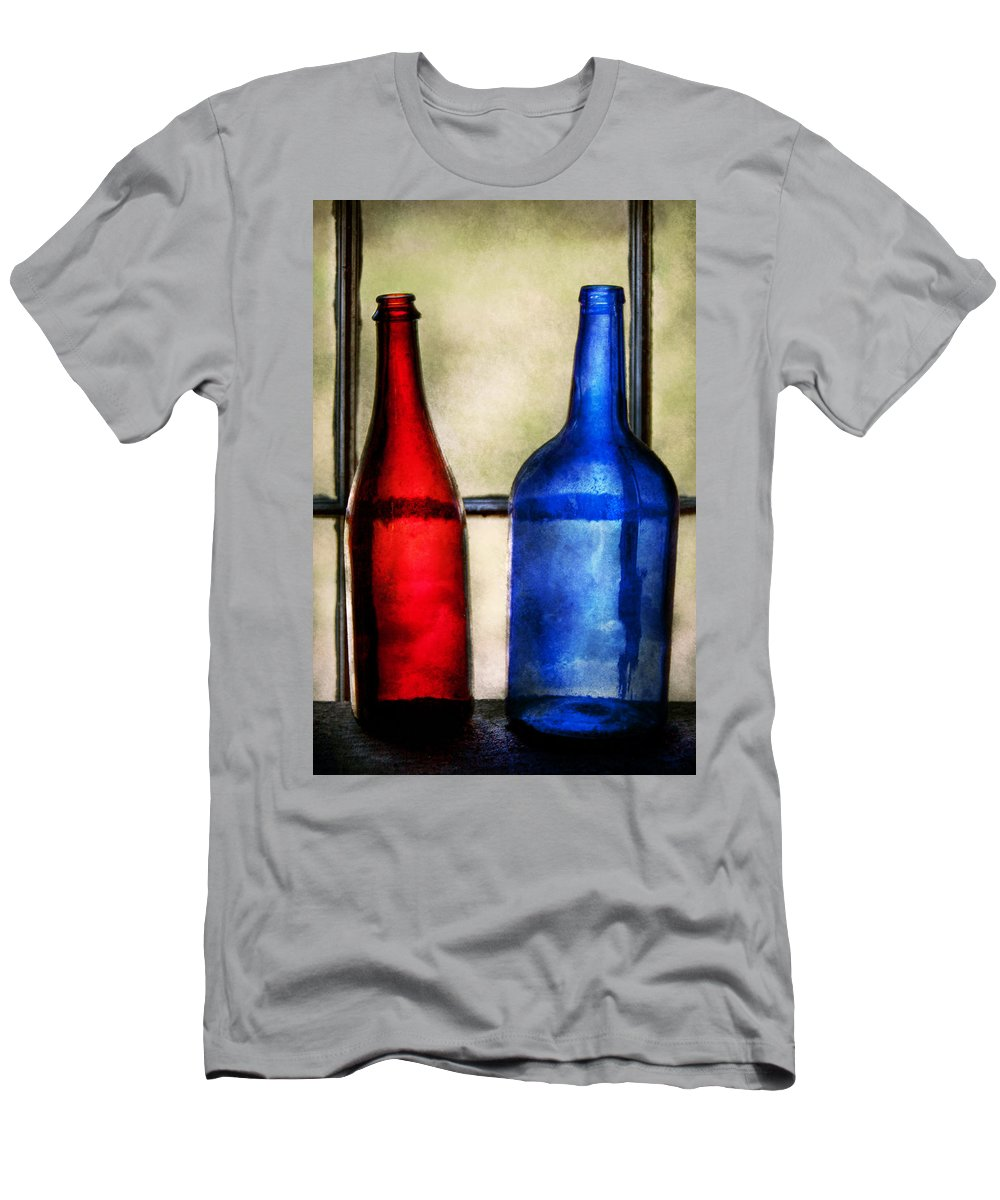 Wine Men's T-Shirt (Athletic Fit) featuring the photograph Collector - Bottles - Two Empty Wine Bottles by Mike Savad