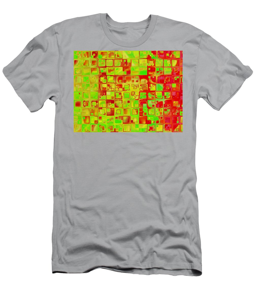 Abstract Men's T-Shirt (Athletic Fit) featuring the digital art Colorful Squares II by Debbie Portwood