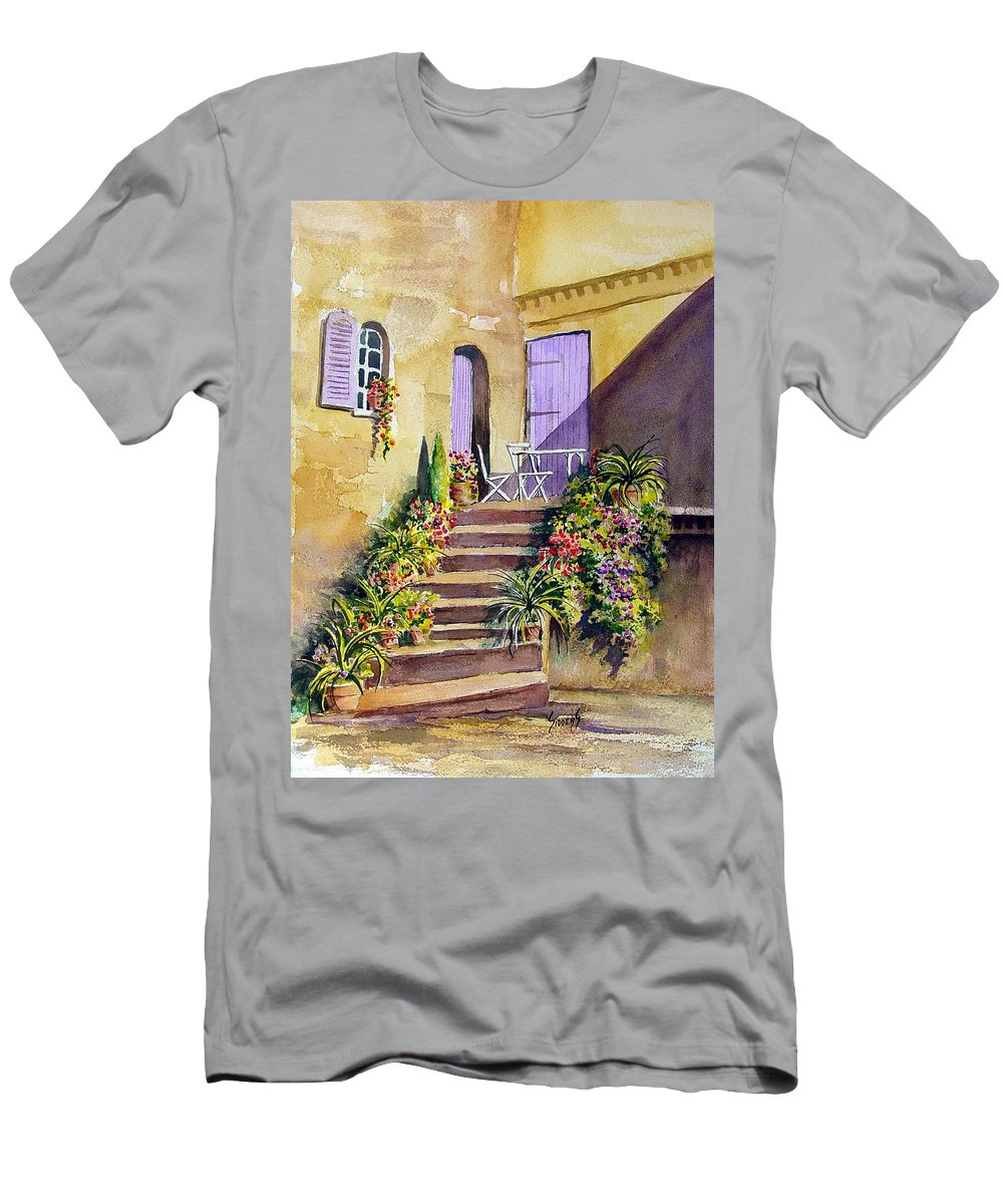 Flowers T-Shirt featuring the painting Crooked Steps and Purple Doors by Sam Sidders