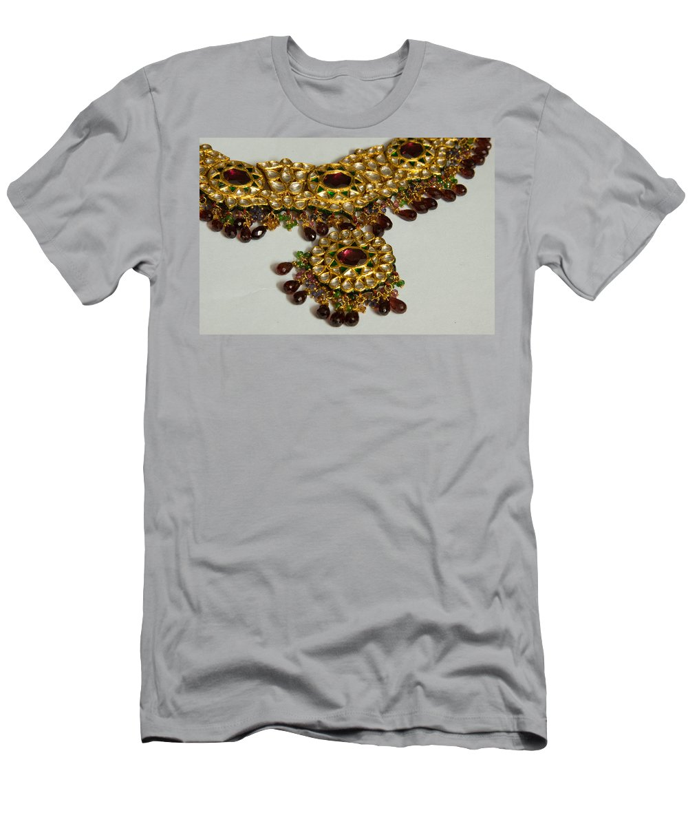Necklace Men's T-Shirt (Athletic Fit) featuring the photograph Cross Section Of A Purple And Yellow Gold Beautiful Necklace by Ashish Agarwal