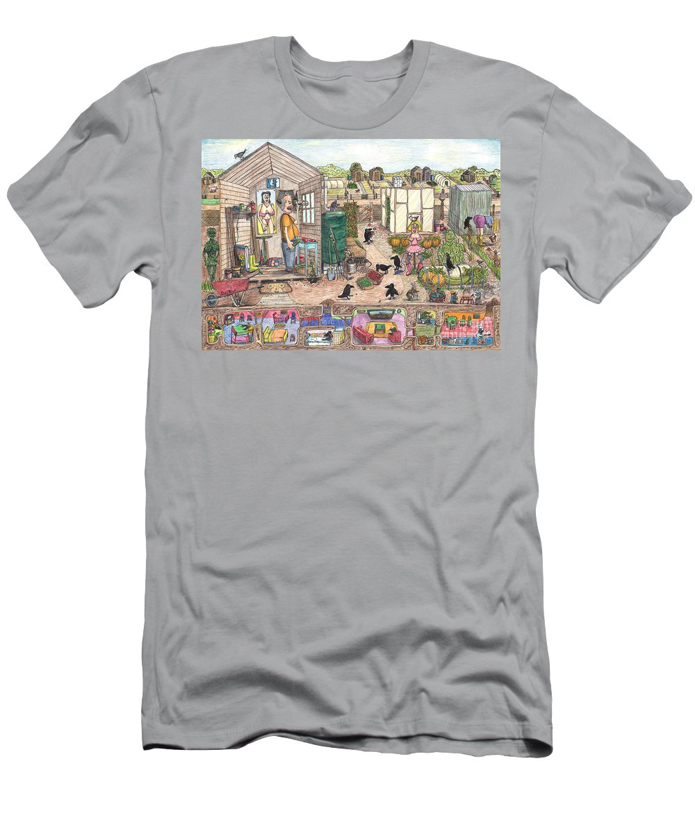 Allotment Men's T-Shirt (Athletic Fit) featuring the drawing Crow Your Own by Steve Royce Griffin