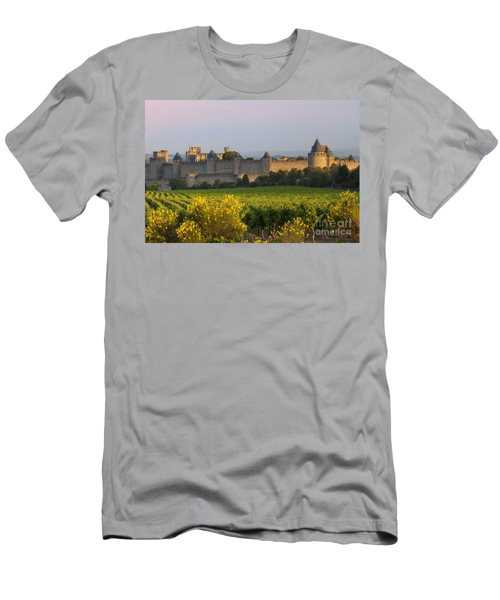 Carcassonne Men's T-Shirt (Athletic Fit) featuring the photograph Dawn In Carcassonne by Brian Jannsen