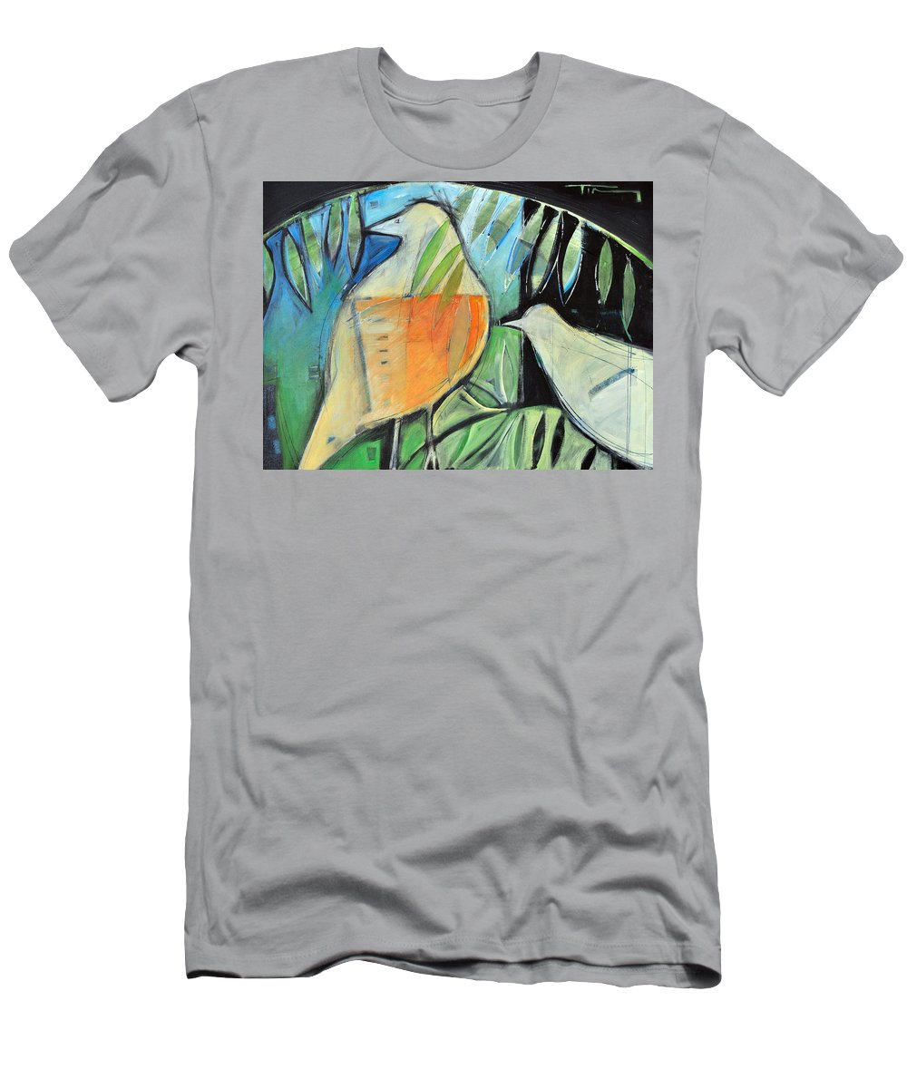 Birds Men's T-Shirt (Athletic Fit) featuring the painting Defender by Tim Nyberg
