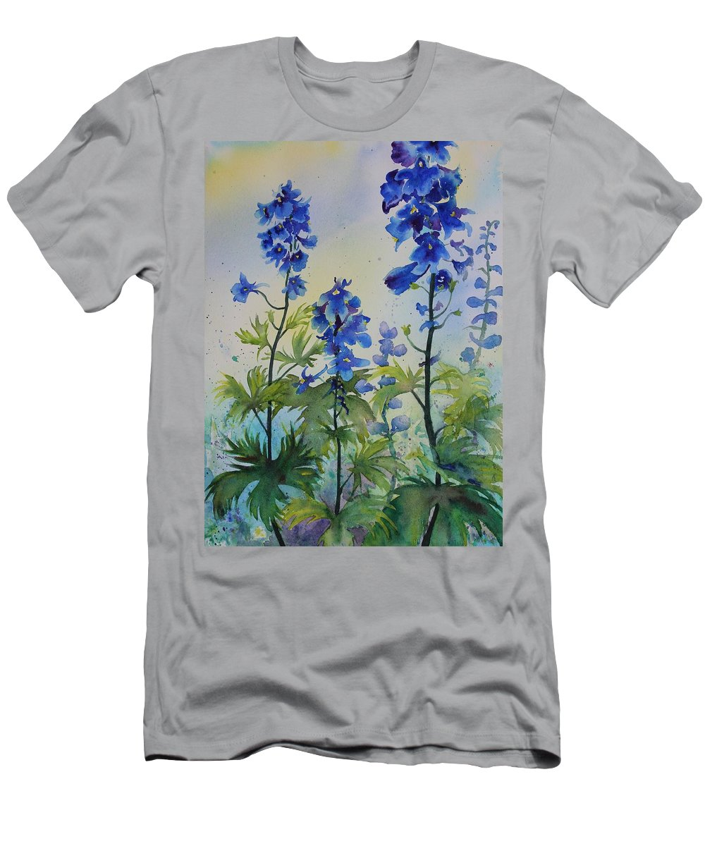 Blue Flowers Men's T-Shirt (Athletic Fit) featuring the painting Delphiniums by Ruth Kamenev