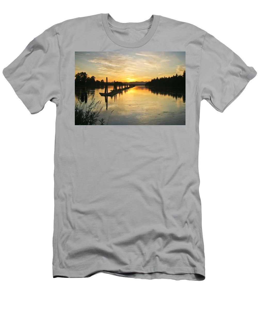 Clark Fork Men's T-Shirt (Athletic Fit) featuring the photograph Delta Sunset by Albert Seger