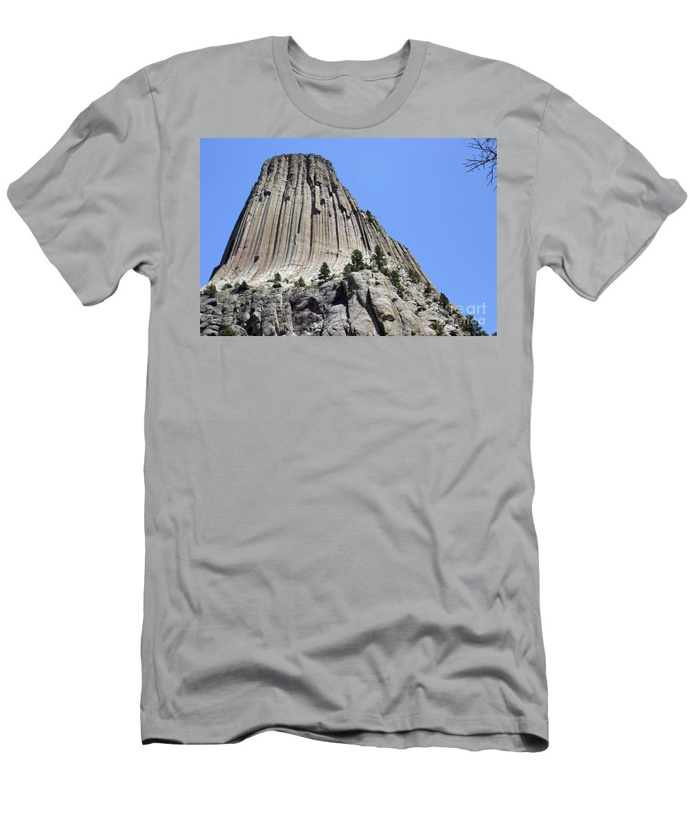 Devil's Tower Men's T-Shirt (Athletic Fit) featuring the photograph Devil's Tower Full View by Living Color Photography Lorraine Lynch