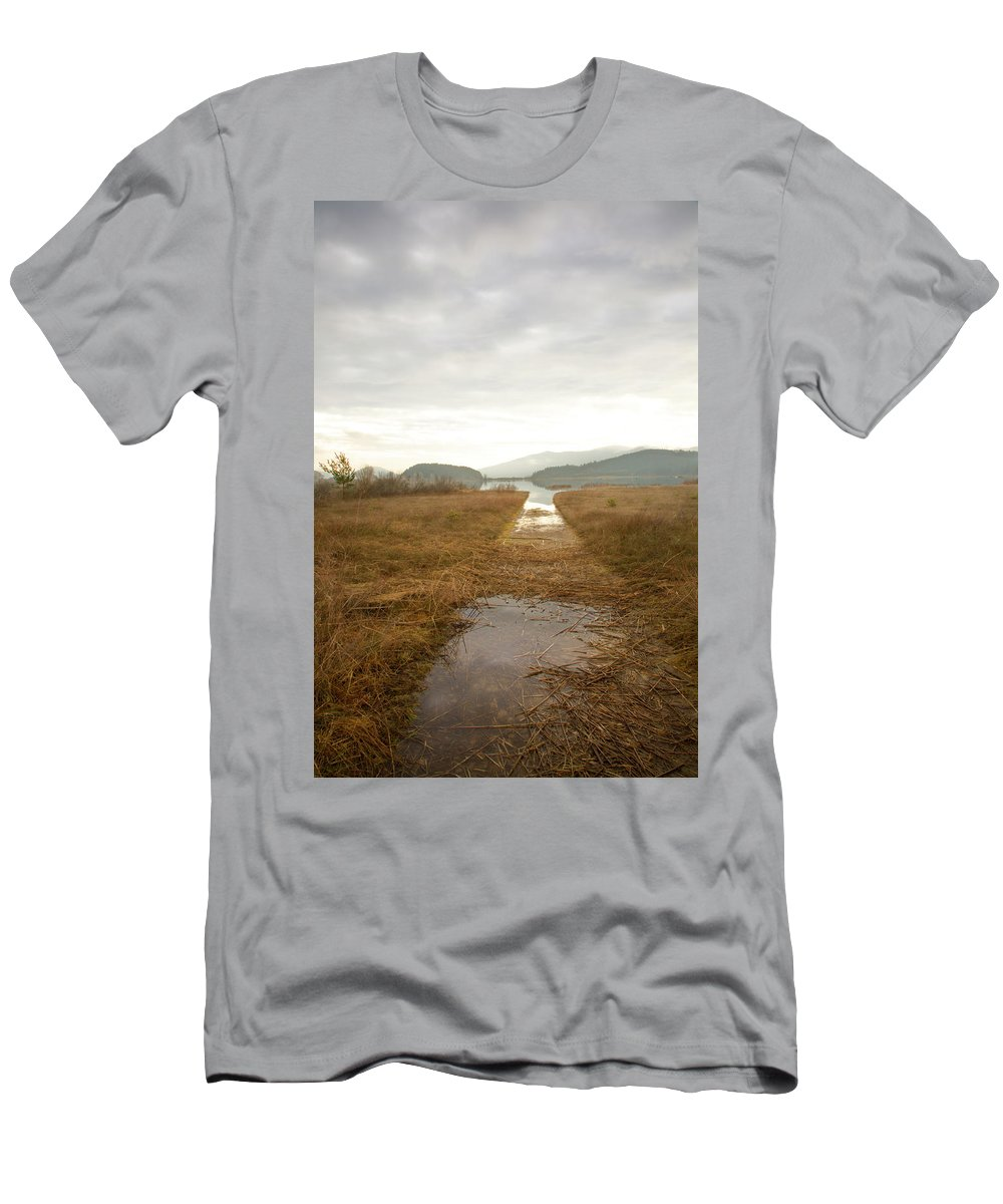 Lake Men's T-Shirt (Athletic Fit) featuring the photograph Disappearing Reflections by Ian Middleton