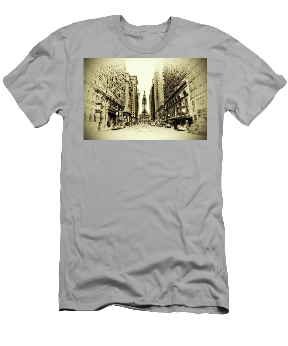 Philadelphia Men's T-Shirt (Athletic Fit) featuring the photograph Dreamy Philadelphia by Bill Cannon