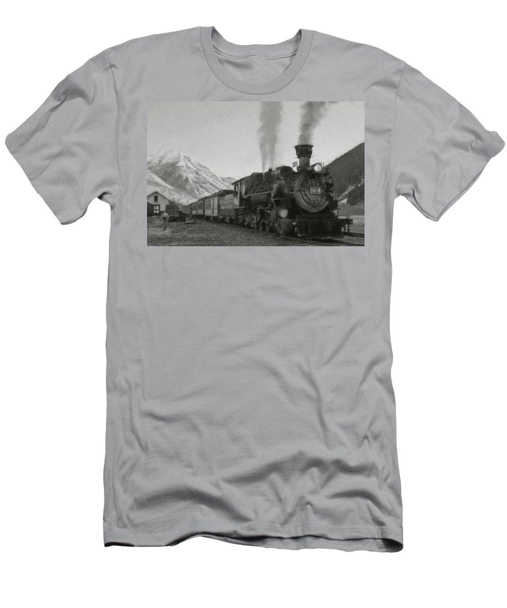 Durango Men's T-Shirt (Athletic Fit) featuring the digital art Durango Silverton Bw Painterly 2 by Ernie Echols