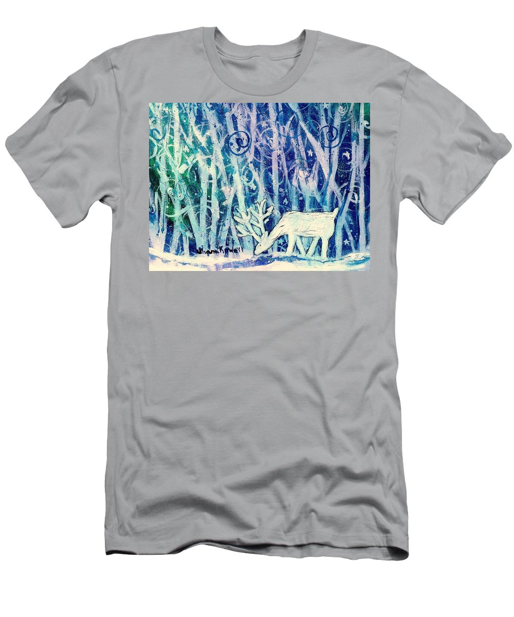 Winter Men's T-Shirt (Athletic Fit) featuring the painting Enchanted Winter Forest by Shana Rowe Jackson