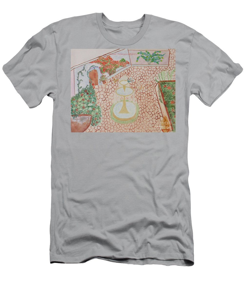 Fountain Garden Men's T-Shirt (Athletic Fit) featuring the painting Enchanting Garden by Sonali Gangane