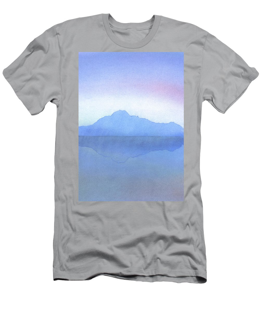 Landscape Men's T-Shirt (Athletic Fit) featuring the painting Evening On The Water by Hakon Soreide