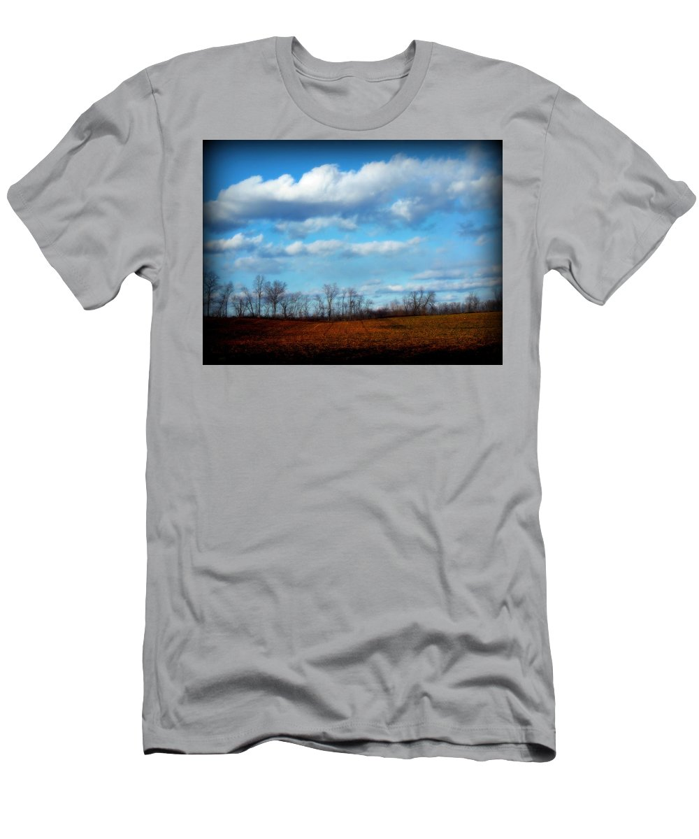 Trees Men's T-Shirt (Athletic Fit) featuring the photograph Fields Of Yellow by Michele Nelson