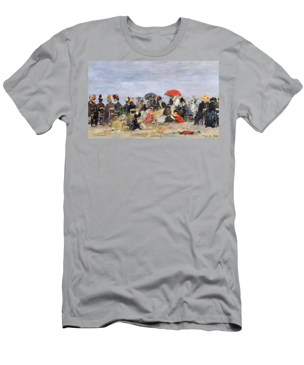 Figures Men's T-Shirt (Athletic Fit) featuring the painting Figures On A Beach by Eugene Louis Boudin