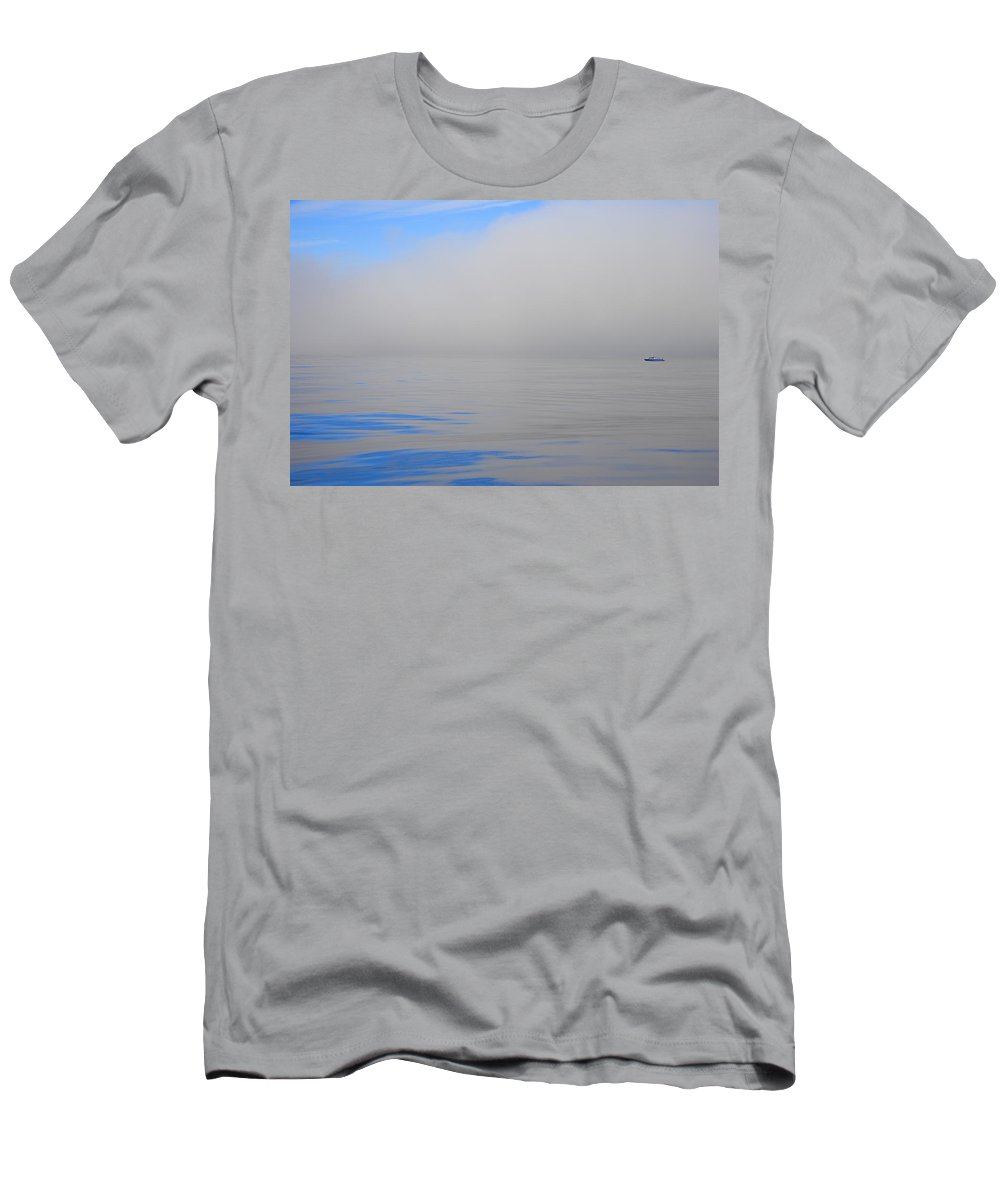 Horizontal Men's T-Shirt (Athletic Fit) featuring the photograph Fishing Boat Out On Water by Don Hammond